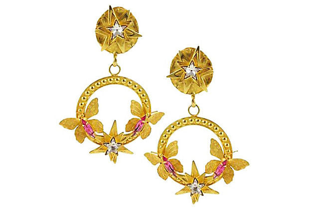 1990's Philippe Ferrandis Gold Hoop Earrings
