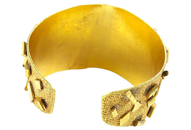 1970's Unsigned Gold and Green Cuff