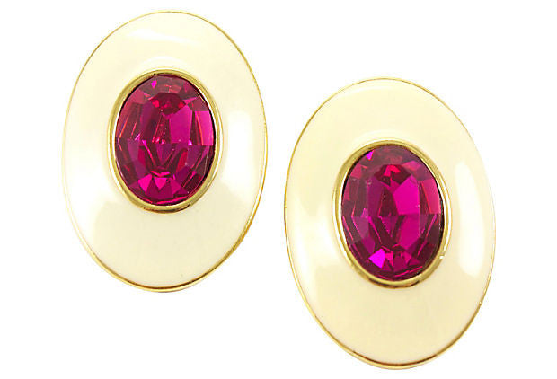 YSL Pink Crystal Earrings