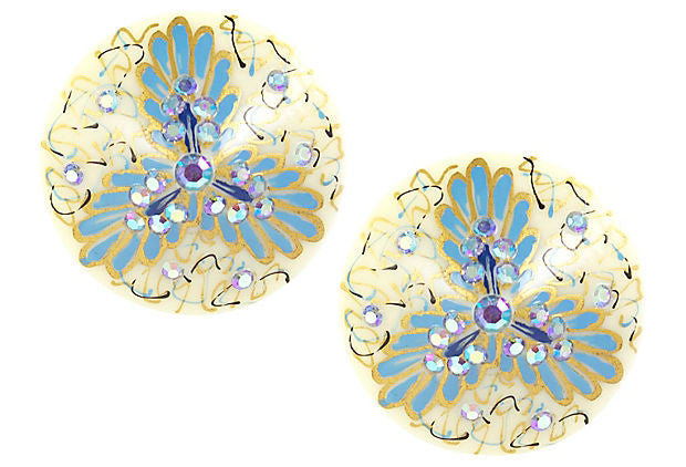 1950's Weiss White and Blue Earrings