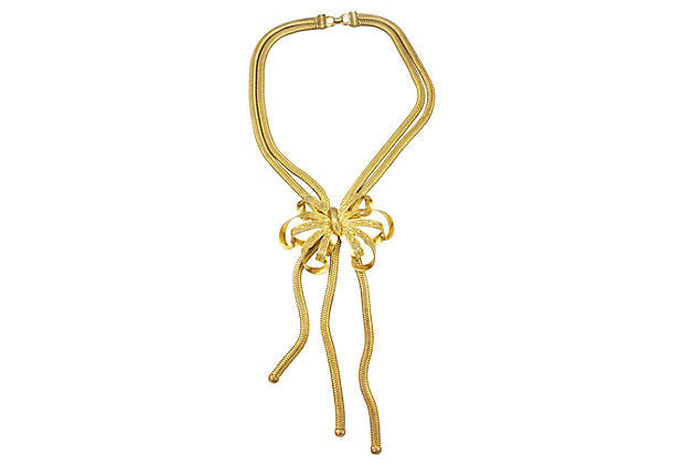 1950's Unsigned Golden Bow Necklace