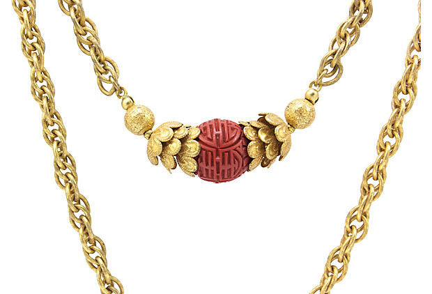 1950's Miriam Haskell Gold and Red Necklace
