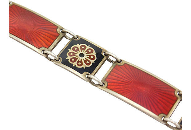 1940's David Andersen Red Enamel Bracelet