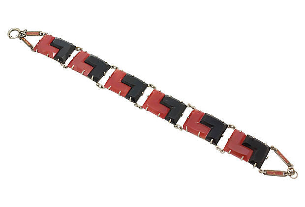 Art Deco Carnelian and Black Bracelet