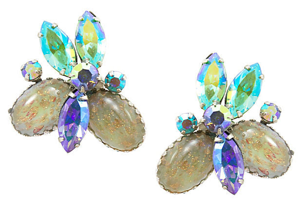 Vendome Blue and Gold Earrings