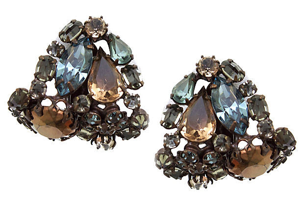 Unsigned Schreiner Blue and Brown Earrings