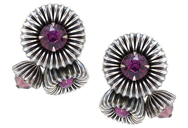 Napier Silver and Purple Floral Earrings