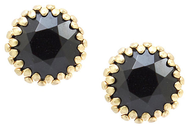 Unsigned Black Faceted Button Earrings