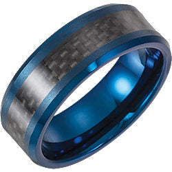 Tungsten Blue Enameled Band with Black Carbon Fiber