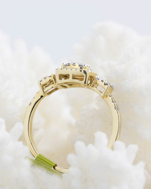 Square Cluster Yellow Gold Diamond Ring