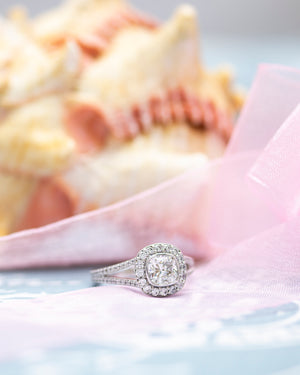 Cushion Bezel-Set Halo-Style Engagement Ring