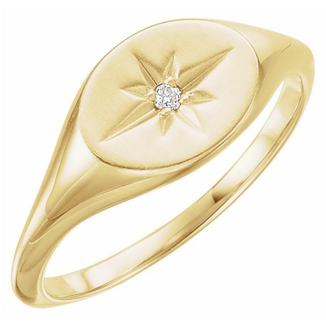 Diamond Oval Starburst Signet Ring