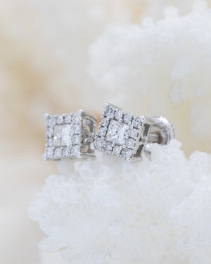 Square Fashion Diamond Earrings