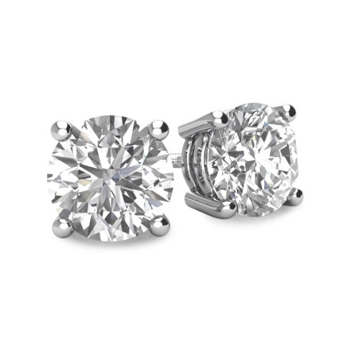 Diamond 4 Prong Basket Style Stud Earrings