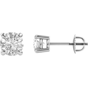 Moissanite 4 Prong Basket Style Stud Earrings
