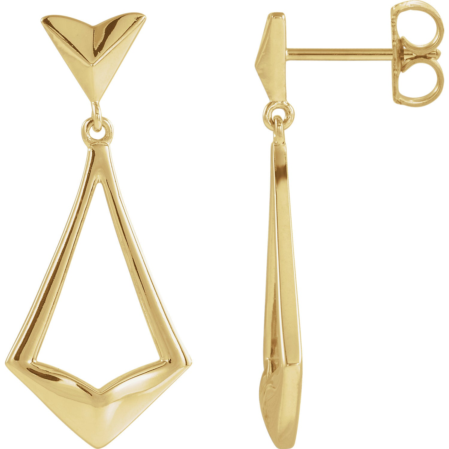 Geometric Dangle Earrings with Backs