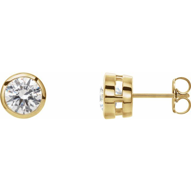 Lab-Grown Diamond Tapered Bezel-Set Stud Earrings