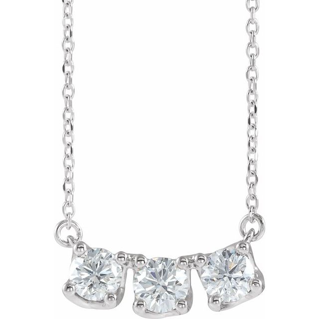 Lab-Grown Diamond Three-Stone Curved Bar Necklace