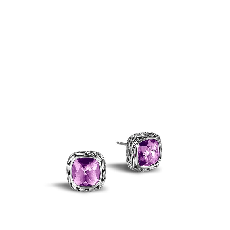 Classic Chain Silver Amethyst Stud Earrings