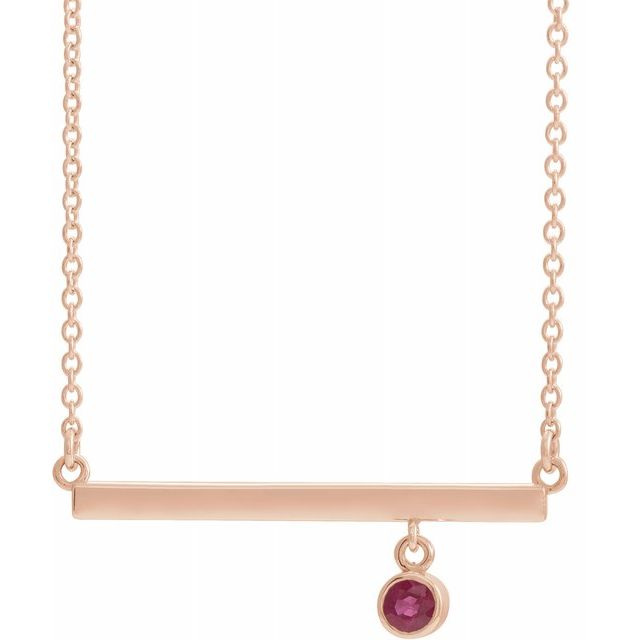 Birthstone Bezel-Set Bar Necklace