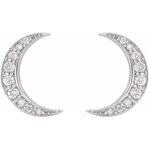 Diamond Crescent Moon Earrings