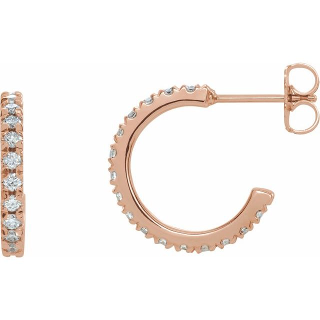 Lab-Grown Diamond French-Set 15 mm Hoop Earrings