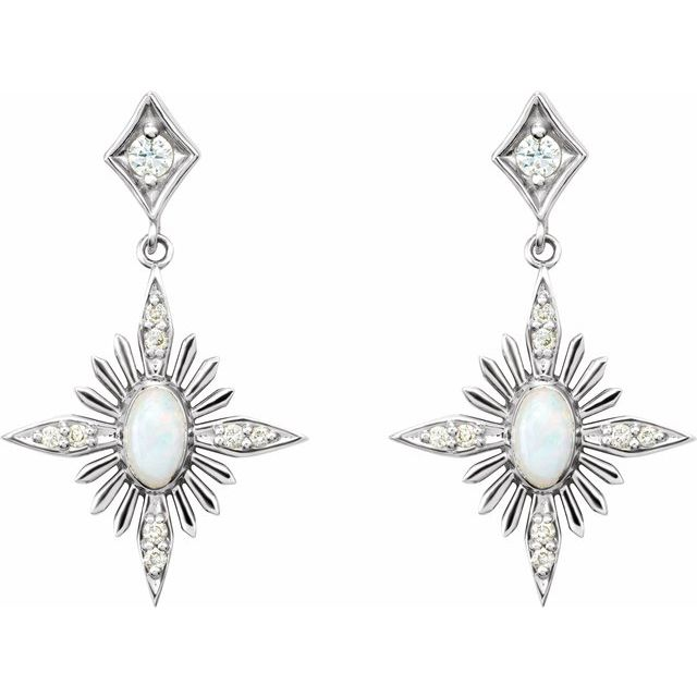 Australian Opal & Diamond Celestial Earrings