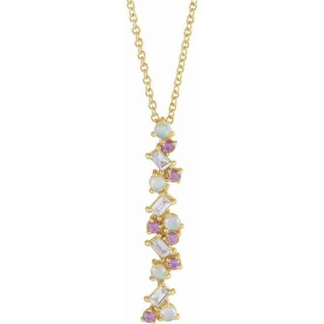 Ethiopian Opals, Pink Sapphires &  Diamond Scattered Bar Necklace