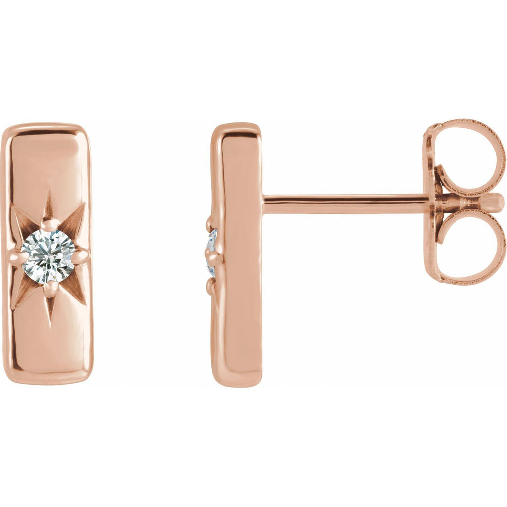 Lab-Grown Diamond Starburst Bar Earrings