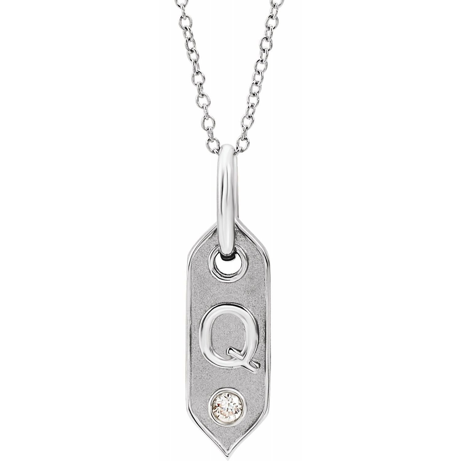 Initial Necklace with a Diamond