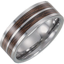 Tungsten Flat Band with Carbon Fiber & Wood Inlay