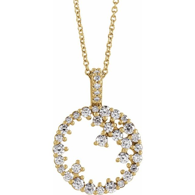 Diamond Scattered Circle Necklace