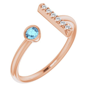 Birthstone & Diamond Bar Ring