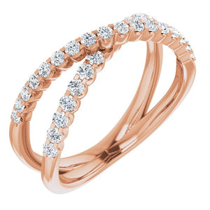Lab-Diamond Criss-Cross Ring