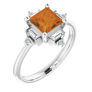 Citrine & Diamond Geometric Ring