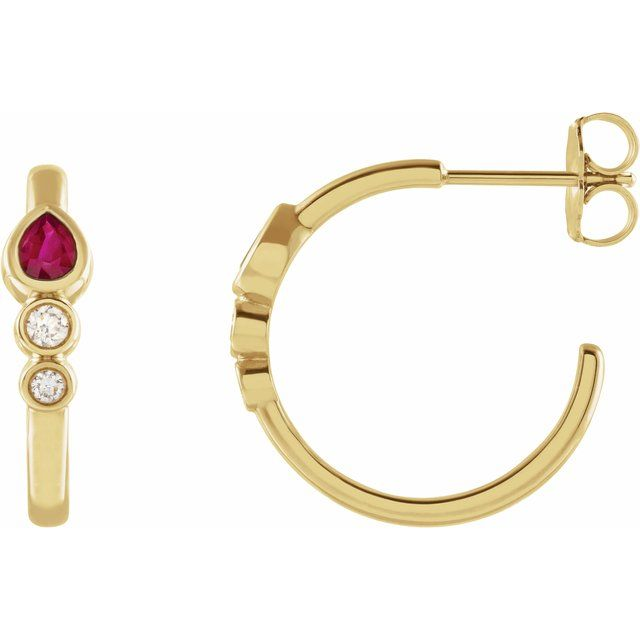 Yellow Ruby & Diamond Bezel-Set Hoop Earrings