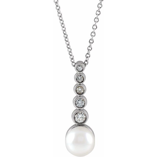 Cultured Akoya Pearl & Diamond Necklace