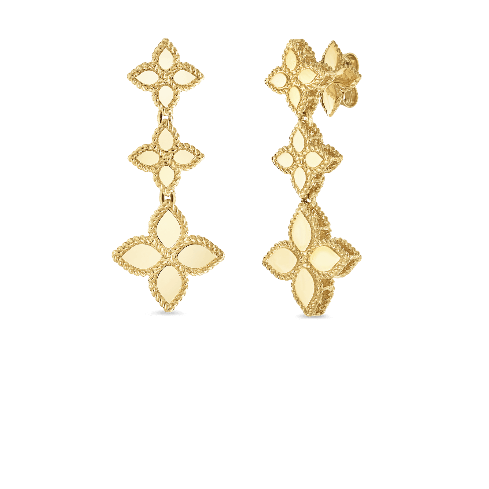 Princess Flower Yellow Gold Hanging Earrings