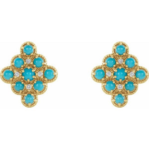 Turquoise & Diamond Geometric Earrings