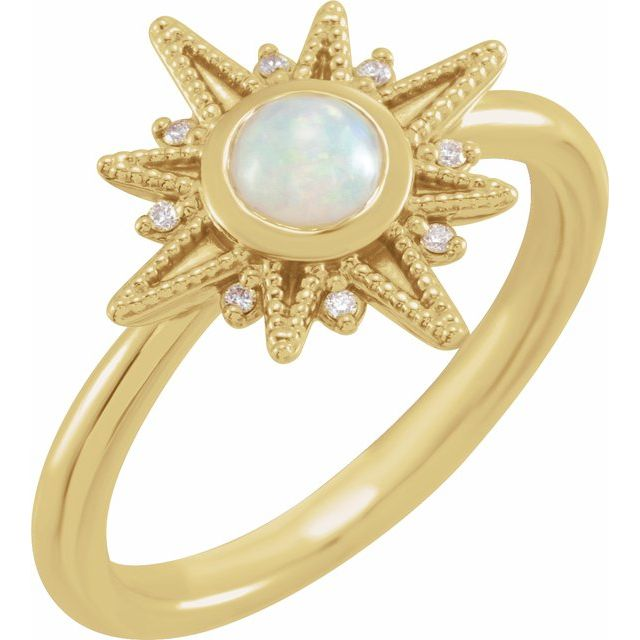 Ethiopian Opal & Diamond Ring