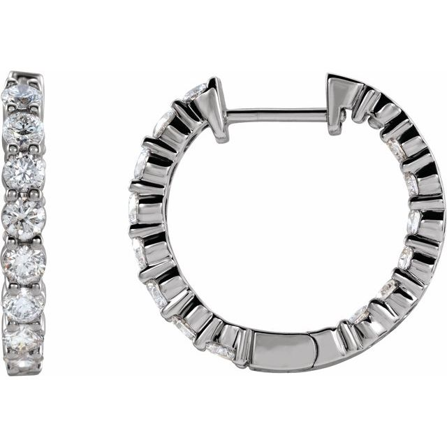 Lab-Grown Diamond Inside-Outside Hinged Hoop Earrings