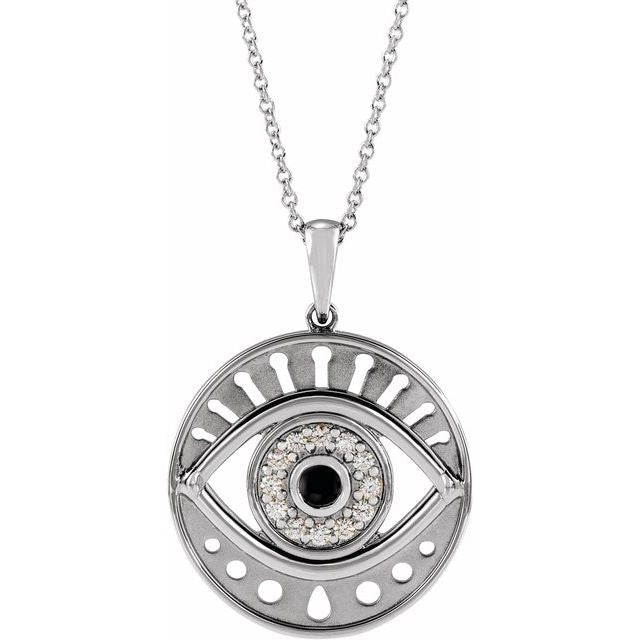 Onyx & Diamond Evil Eye Necklace