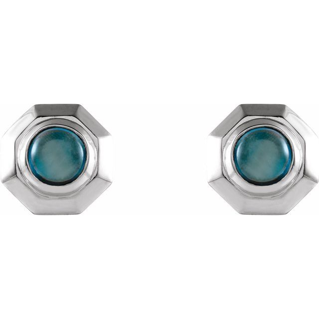London Blue Topaz Geometric Earrings