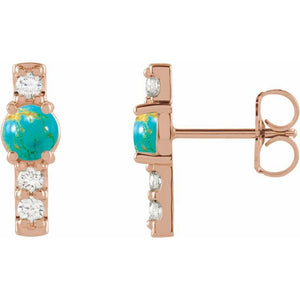 Turquoise Diamond Semi-Set Bar Earrings
