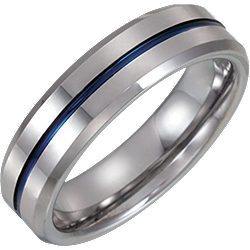 Tungsten Grooved Band with Blue Enamel