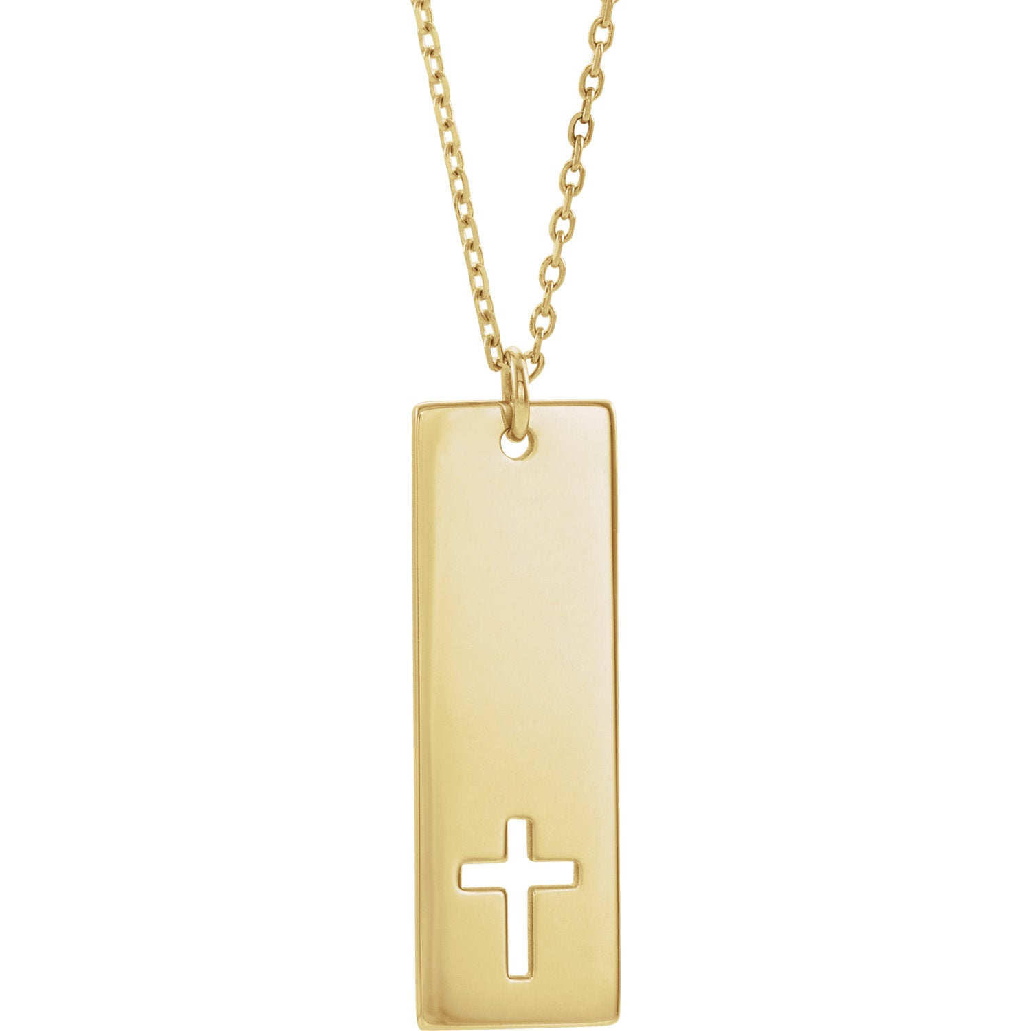 Vertical Bar Pierced Cross Necklace