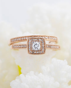 Rose Gold Diamond Wedding Ring Set