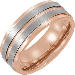 Tungsten 8mm Grooved Band with Rose Gold