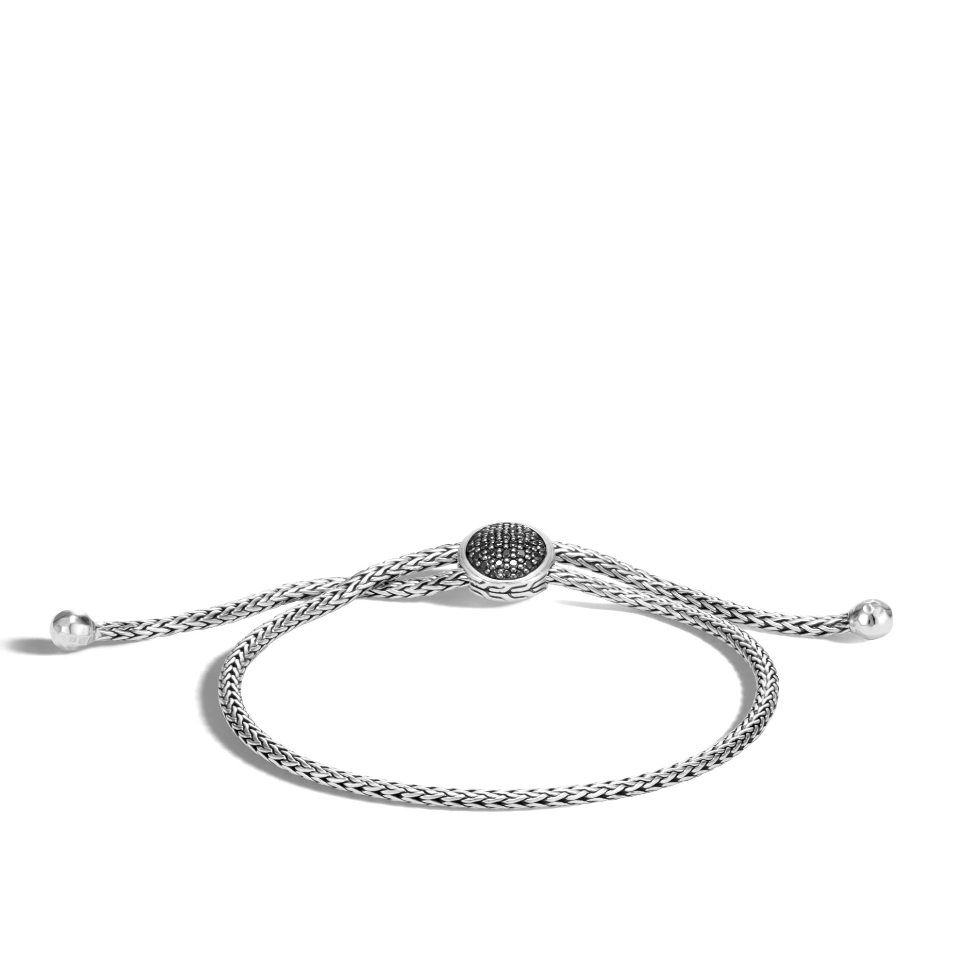 Classic Chain Pull Through Bracelet,Black Sapphire, Black Spinel