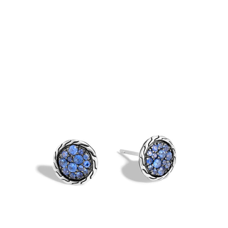 Classic Chain Stud Earring with Blue Sapphrie